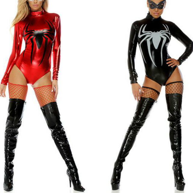 New Shiny Metallic Faux Leather Adult Spider Costume Spider-man In Party Costumes Cosplay Sexy  sc 1 st  AliExpress.com & New Shiny Metallic Faux Leather Adult Spider Costume Spider man In ...