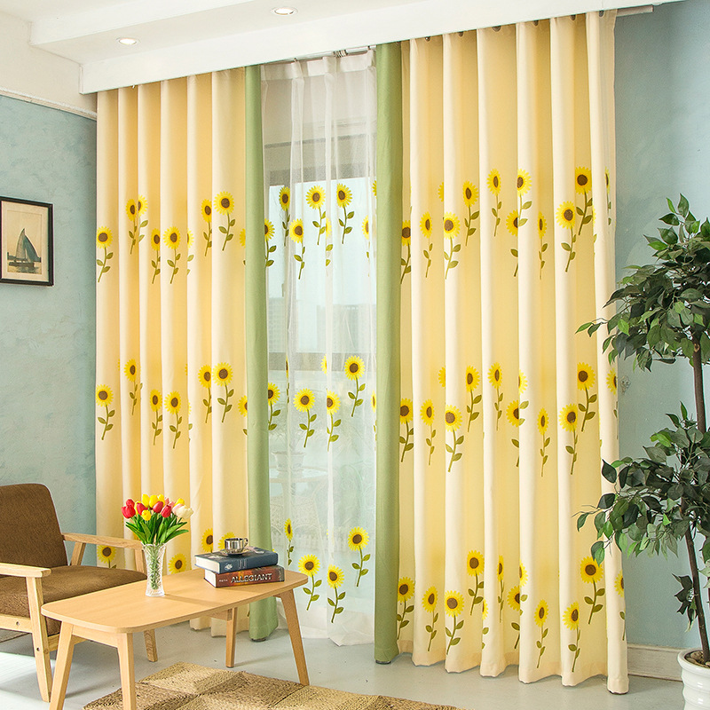 yellow bedroom curtains pastoral blackout curtains for bedroom embroidered 13886