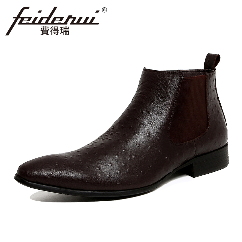 Fashion Ostrich Pattern Genuine Leather Men's Chelsea Ankle Boots Pointed Toe Martin Cowboy Man Formal Outdoor Shoes YMX120 plus size 2016 new fashion genuine leather formal brand man mid calf boots men s winter pointed toe rivets cowboy shoes fpt451