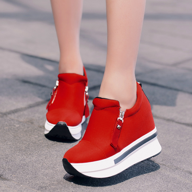 Wedge Shoes Women Canvas Slippers rosso Women Slip Autunno On solido Nero comoda piattaforma Colore Casual ISRxwwq