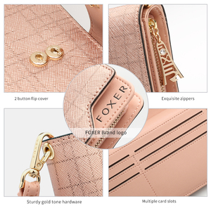 Image 5 - FOXER Cowhide Leather Wallets Card Holder Purses High Quality Long Wallet Womens Wallet Lady Zipper Clutch Bag with Wristlet