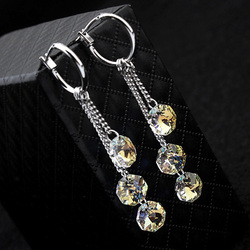 Trendy Octagon 100% Crystals From Swarovski Tassel Earrings For Women Silver Color Wedding Party Earrings Female Jewelry Gift
