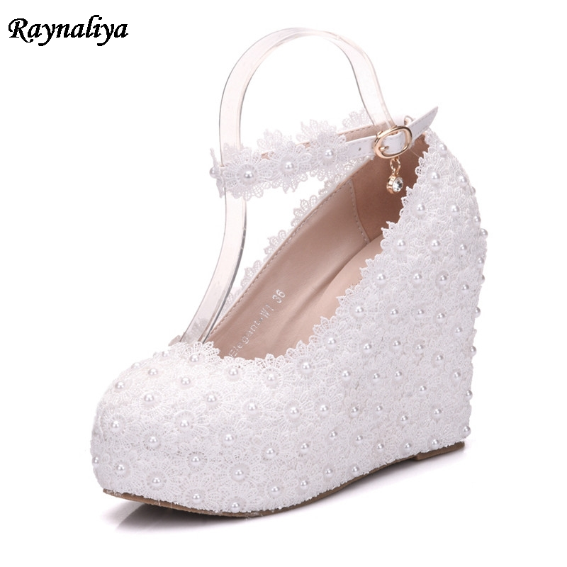 Handmade White Lace High-Heeled Shoes Platform Round Flower Bride Wedding Shoes Pearl Diamonds Wedges Pumps Shoes XY-A0072