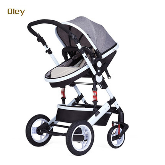 OLEY easy fold classical white steel frame lycra cotton baby stroller ,luxury baby pram jogger with shock proof system