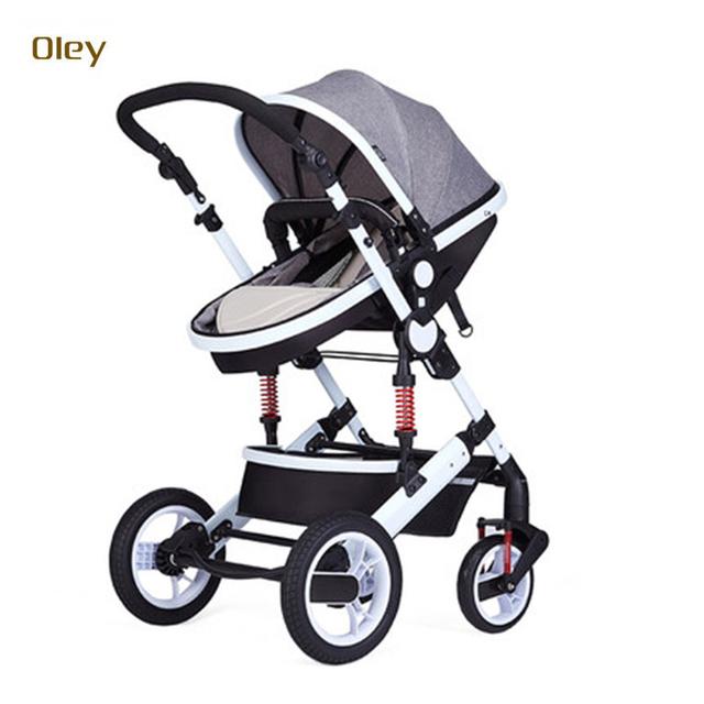 OLEY fácil dobrar clássica estrutura de aço branco lycra algodão bebê carrinho de criança, luxuoso do bebê carrinho de bebê jogger com sistema à prova de choque
