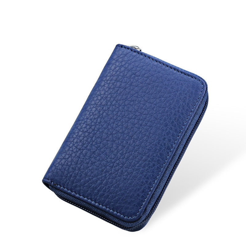 Wholesale Fashion Genuine Leather Cowhide Rfid Card Holder Women Men Wallet For Credit Card Business Card Holder Organizer Purse in Card ID Holders from Luggage Bags