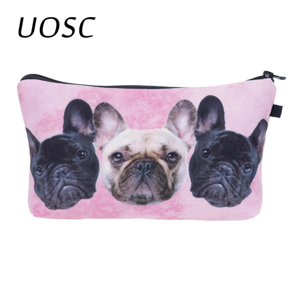 UOSC Bulldog Trio Pink 3D Printing Makeup Bags Women Cosmetic Bag Trousse Maquillage Femme Neceser Make Up Bag Pencil Case
