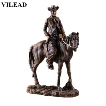 VILEAD 14 Resin Cowboy Figurine American West Riding Horse Miniatures Vintage Statue Animal Decoracion Hogar