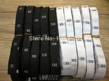 Free shipping 500 pcs/roll Black and white color 80-185 Garment neck size labels clothing tags