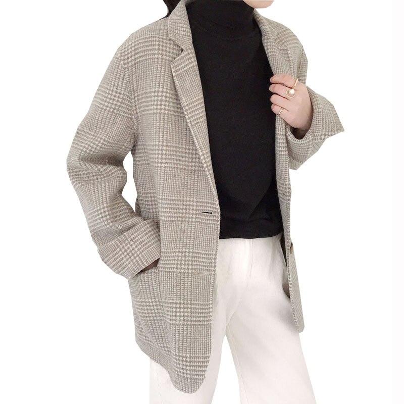 Elegant Beige Grey Plaid Women Wool Coats Trench Women Winter Warm 2018 Female Long Woolen Overcoat Casual Coat Lady Outerwear