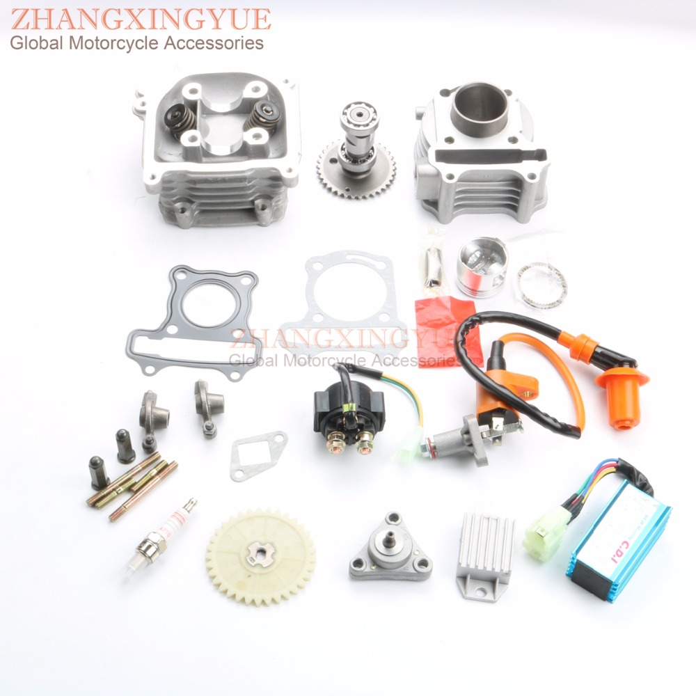 50cc Cylinder Kit & Cylinder Head Assembly & Cam & AC CDI & Tensioner & Oil Pump A7TC spark plug for GY6 139QMB 50cc 39mm 4T 38mm cylinder barrel piston kit