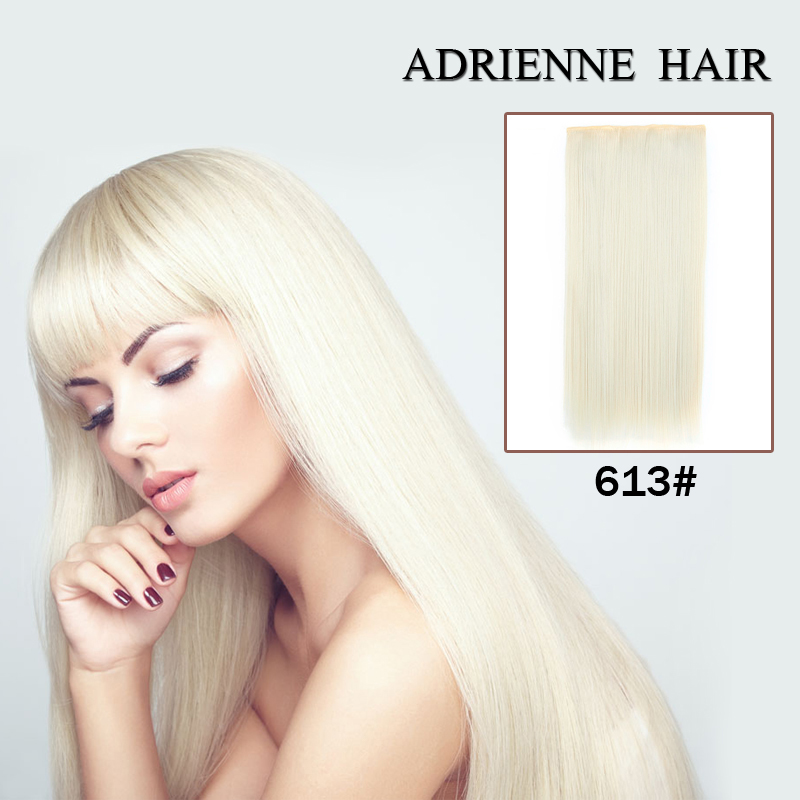 Clip In Hair Extensions White 24inch 60cm 120g 5clip Long Straight