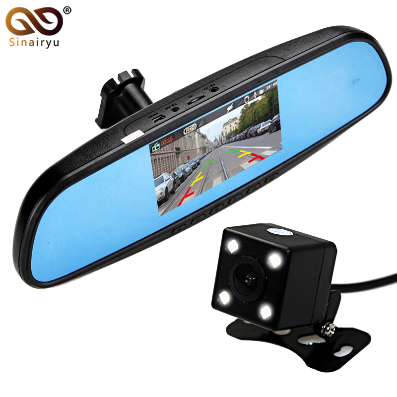 1920*1080P 4.3 LCD Dual Lens Video Dash Cam Recorder Car Camera DVR 3 In 1 Rearview Mirror + Front Car DVR + Rear view Camera intelligent quad channel car camera video recorder dvr for rear front side view camera four split screen with remote controller