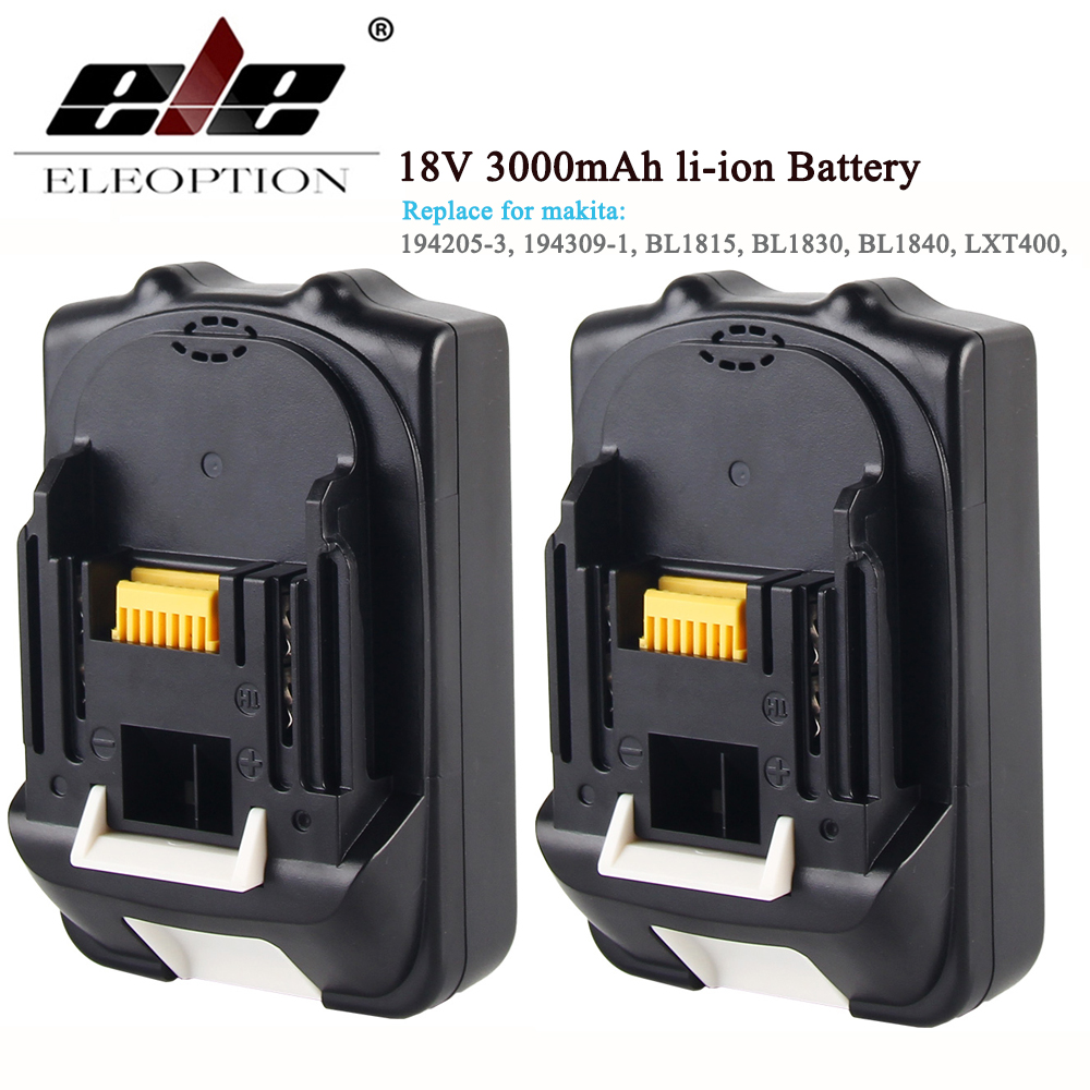 ELEOPTION 2PCS For Makita BL1830 18V Battery 3000mAh Rechargeable Li-ion Power Tools Batteries for Makita BL1835 BL1815 eleoption for makita 18v 3000mah power tool battery pack for bl1830 bl1840 recharegeable battery cordless drill li ion batteries