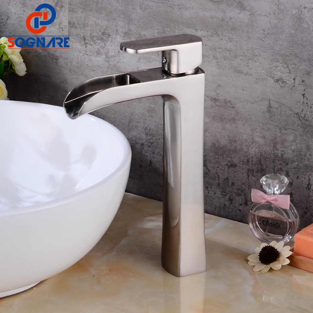 SOGNARE Waterfall Bathroom Basin Faucet Nickel Brushed Cold and Hot Bathroom Vanity Hot and Cold Water Tall Faucets Single Hole manitobah унты tall gatherer mukluk мужские черный