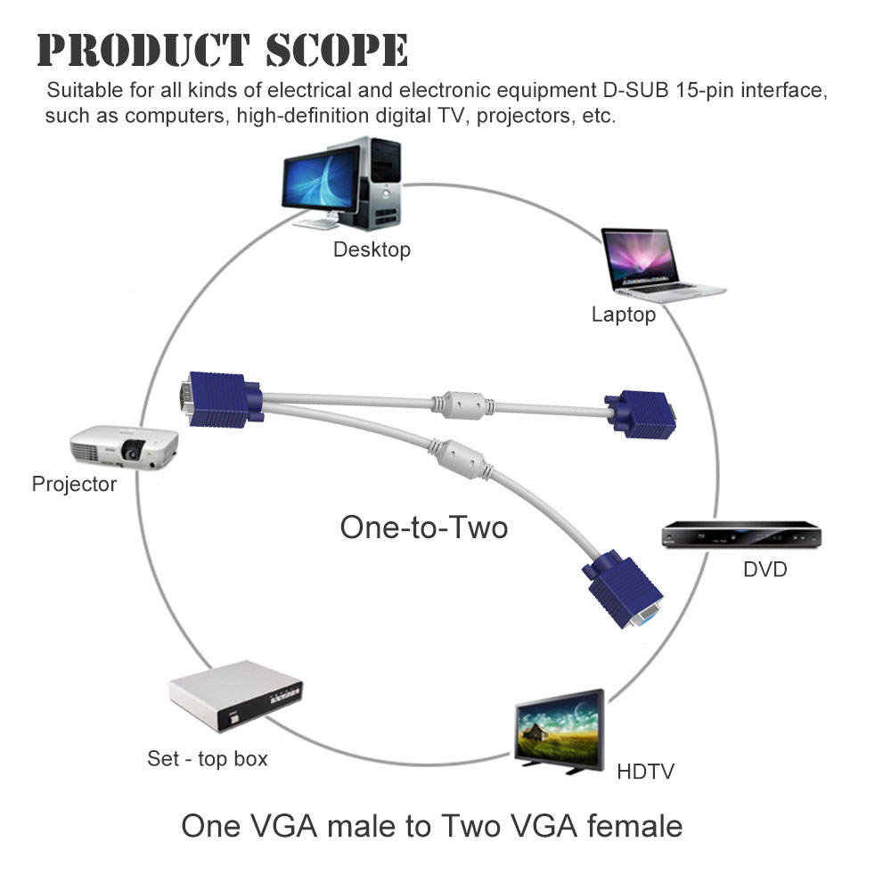 hight resolution of 15 pin 1 pc to 2 monitor dual video way vga svga extension monitor vga splitter cable lead hd 1080p for computer pc laptop in vga cables from consumer