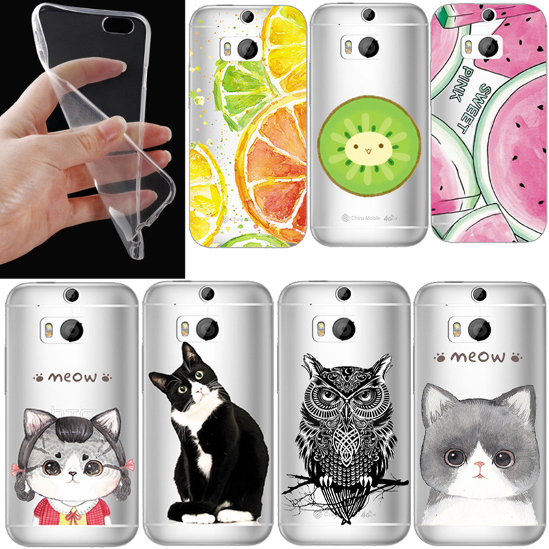 Phone Case For HTC One M7 M8 M9 M8mini E9 plus Desire 728 Clear Case Soft TPU Silicon Transparent Cat Owl Printed <