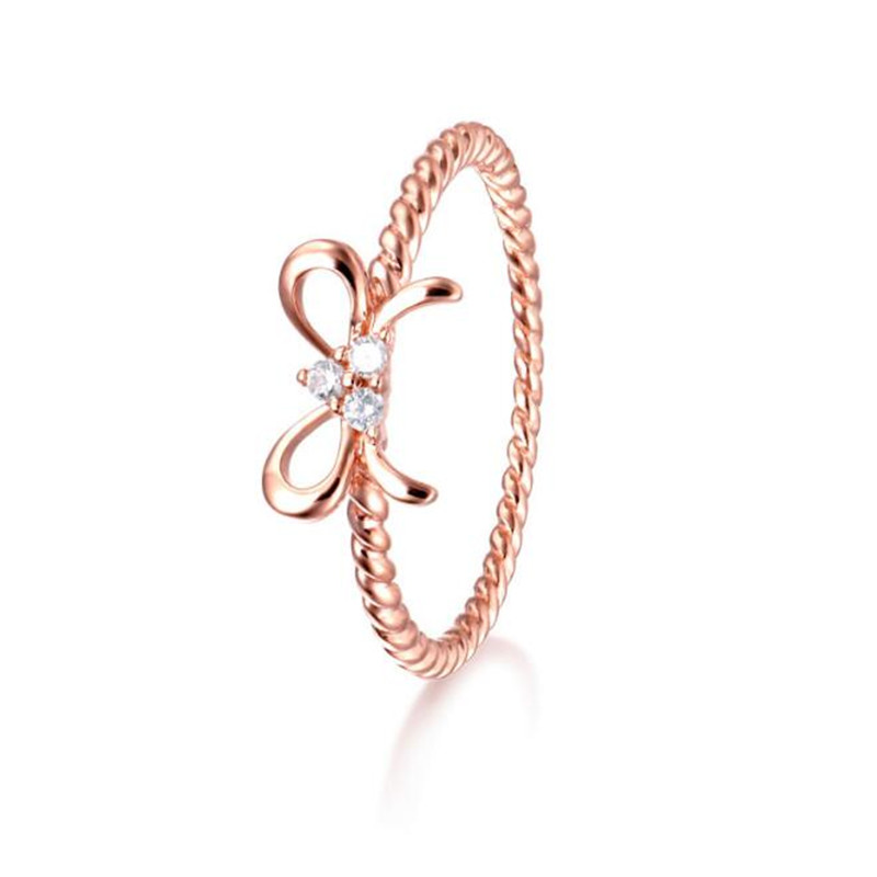 High Quality Fashionable Unique 100% 18K Gold Finger Ring With Shining CZ Butterfly Shape Jewelry for Party Gift 1.49G multi line high quality fashionable opening ring