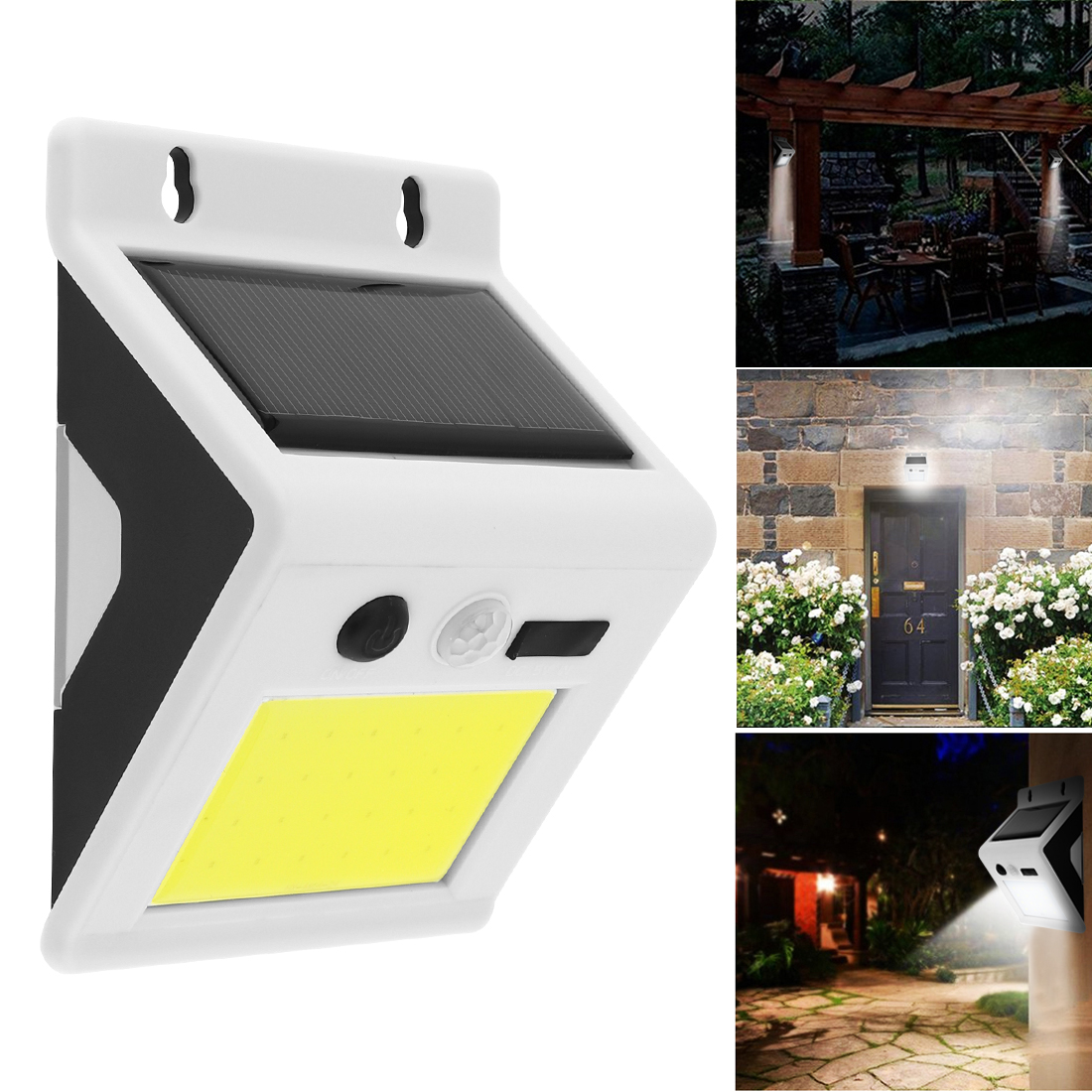 Waterproof LED Solar Light,COB Rechargeable Wall Lamp with PIR Motion Sensor and USB Charger for Garden/ Yard/ Driveway/ Street