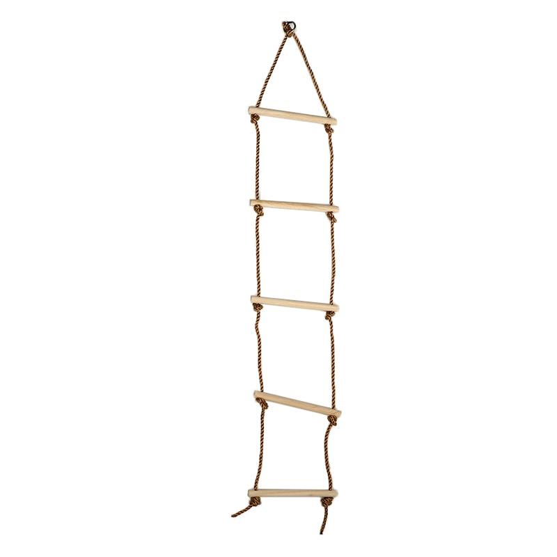 5 Rungs  Climbing Wooden Ladder Swing PE Rope Children Safe Fitness Toys Kids Sport Equipment Indoor Outdoor Garden