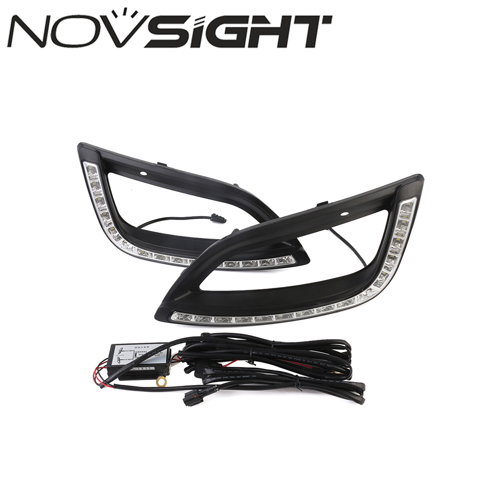 NOVSIGHT 2pcs Car LED White DRL Driving Daytime Running Light Fog Lamp Day Lights For Hyundai IX35 2014-2017 Free Shipping 1 pair metal shell eagle eye hawkeye 6 led car white drl daytime running light driving fog daylight day safety lamp waterproof