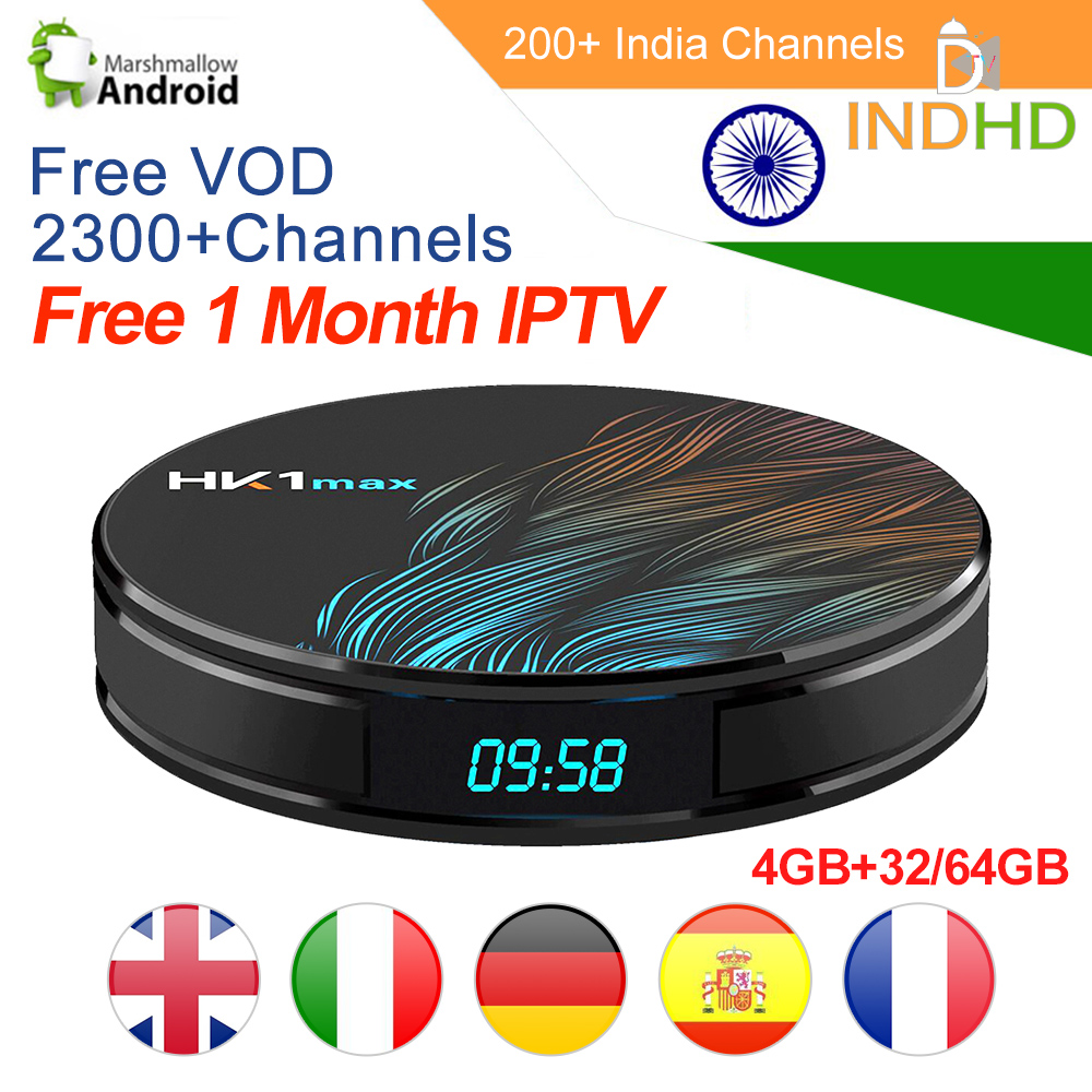 HK1 MAX Arabic Turkey IPTV India Pakistan Subscription Code Free 1 Month Indian Germany Portugal Italy IP TV Android 9.0 Tv Box-in Set-top Boxes from Consumer Electronics