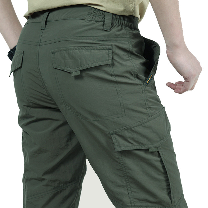 Summer Thin Breathable Multi-pocket Large Size Training Pant Men Outdoor Climbing Riding Fishing Quick Dry Overalls Long Trouser