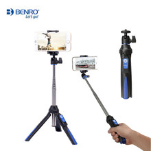 NEW BENRO mini Tripod Portable Self-portrait Phone Selfie Stick with wireless Bluetooth Remote Shutter for smartphone and Gopro(China)