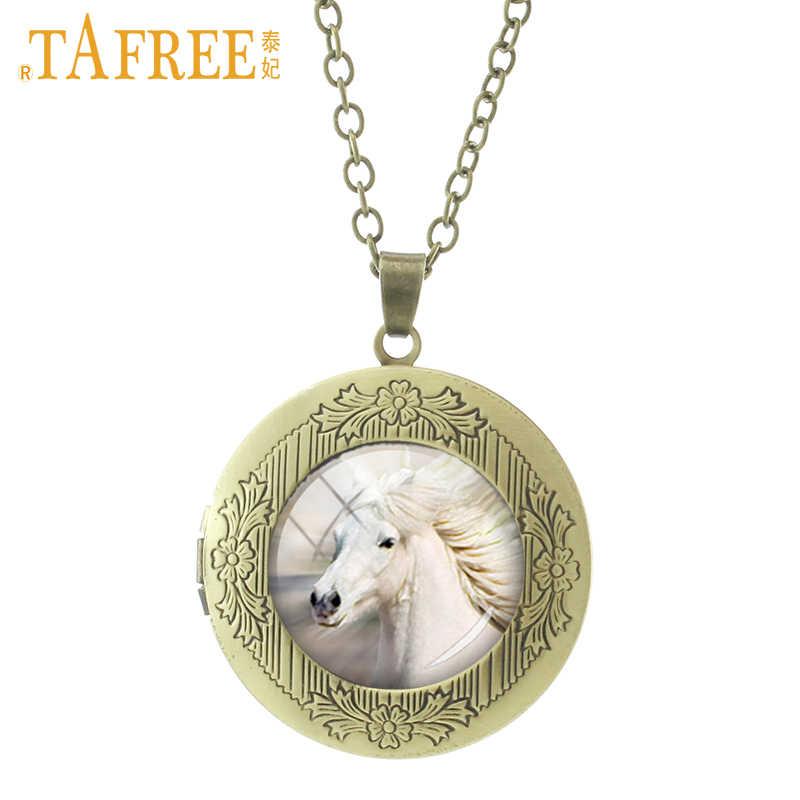 TAFREE الأبيض الحصان المنجد قلادة العصرية Vintage الحيوان قلادة القلائد بيان عالية الجودة الرجال النساء مجوهرات هدايا N560