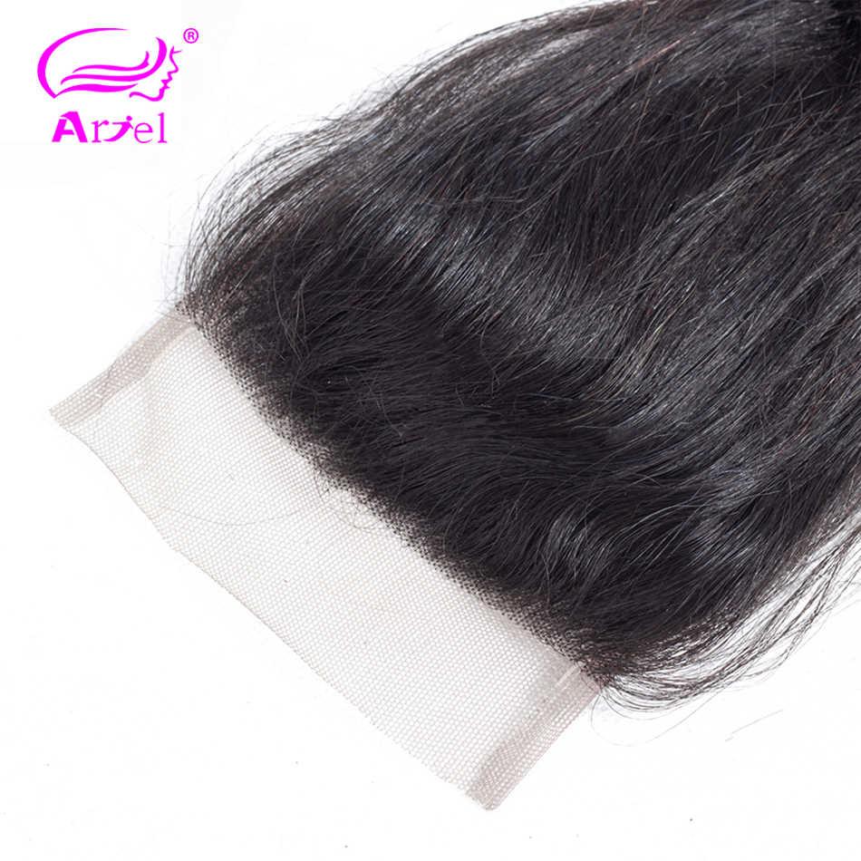 Ариэль свободные синтетические волосы волнистые человеческие волосы закрытие 20 дюймов прозрачное кружево Закрытие индийские закрытия не Реми 4x4 парик с пробором посередине