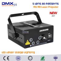 DHL Free Shipping New 5 Lens 80 Patterns RGRB Laser Projector Stage Lighting Effect Blue LED