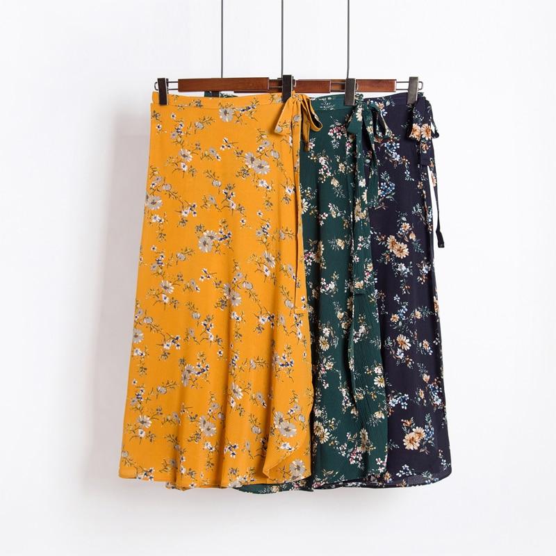 7e210663d60 Весна Для женщин Винтаж пляжные цветочным принтом длинные шифоновые юбки  летние элегантные макси юбка Boho Высокая