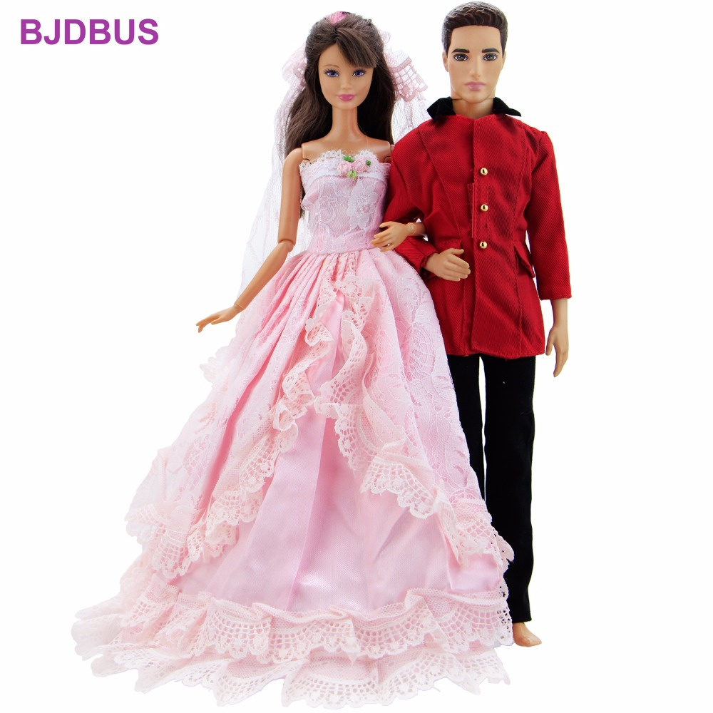 2 Sets High Quality Outfits = 1x Men's Blazer + 1x Pink Bridal Dress + 1x Veil Clothes For Barbie Doll Ken Accessories Kids Gift
