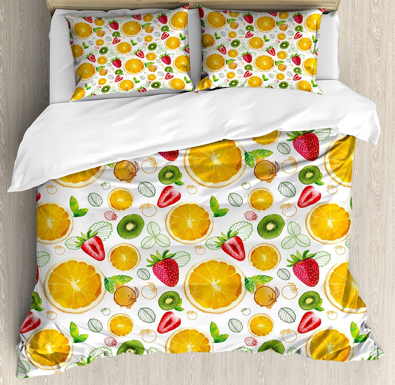 Fruits housse de couette ensemble agrumes Kiwi citron feuilles abricot pastèque frais exotique cuisine ensemble de literie terre jaune rouge citron vert