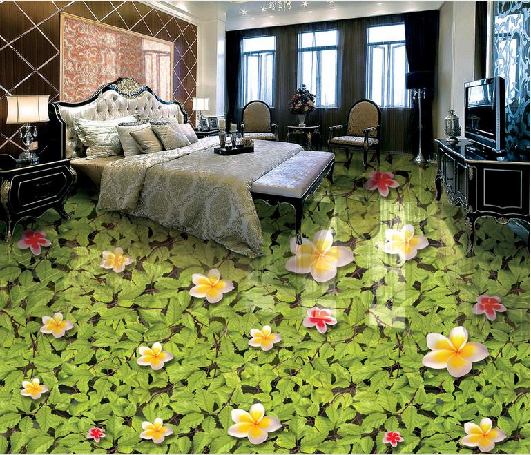 Picture in Picture Custom 3d floor tiles Magnolia green leaves mural wallpaper living room bathroom 3d flooring free shipping marble texture parquet flooring 3d floor home decoration self adhesive mural baby room bedroom wallpaper mural