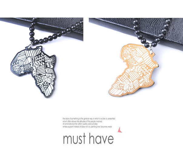 2pcs/lot Brand New Hip Hop Africa Map Maxi Pendant Necklace Men Hippie Long Beads Chain Necklaces Male Jewelry Bojiux Gift