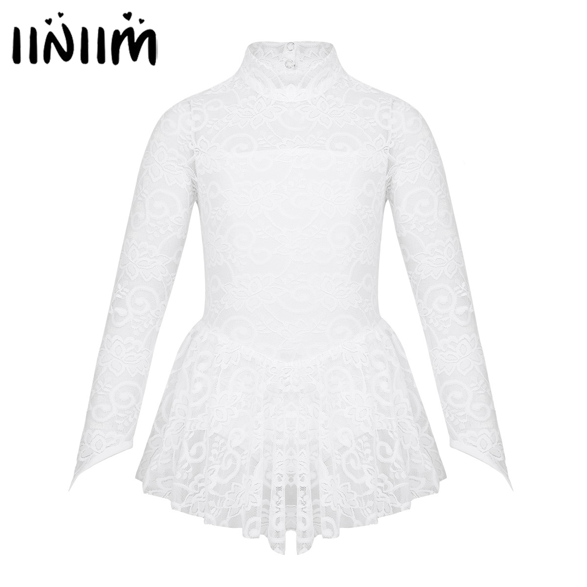 iiniim Kids Dancewear Floral Lace Figure Ice Skating Roller Dance Dress Gymnastics Leotard for Girls Contemporary Dance Costumes