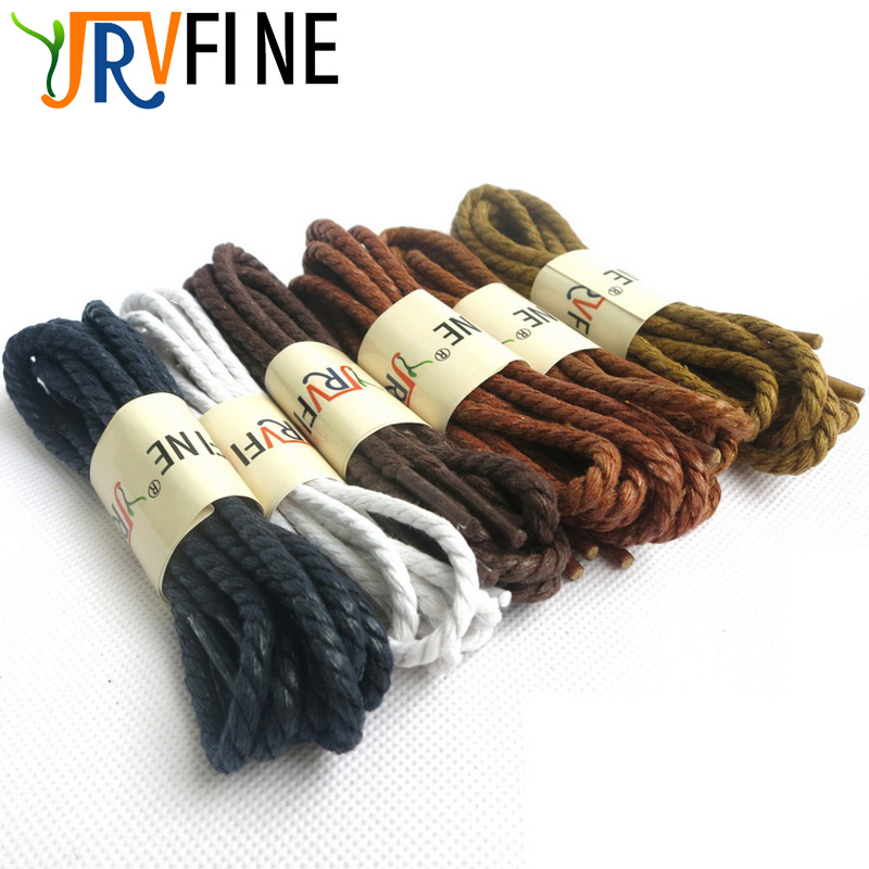 YJRVFINE 1 Pair Round Waxed Shoelaces Waterproof Cotton Wax Dress Shoes Shoe Laces for Martin Boots 3.5mm Three Shoelace Rope mr niscar 10 pair width 0 8cm thick 0 2cm flat waxed shoelaces wax cotton shoe laces strings for leather shoes boots lace rope