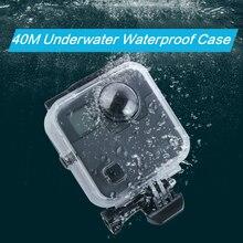 40 M עמיד למים מקרה דיור דלת אחורית לgopro Fusion 360 מצלמה מתחת למים תיבת עבור ללכת פרו היתוך פעולה מצלמה אבזרים