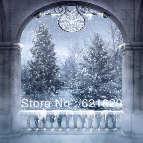 Charming snow scene 8 x8 CP Computer painted Scenic Photography Background font b Photo b font