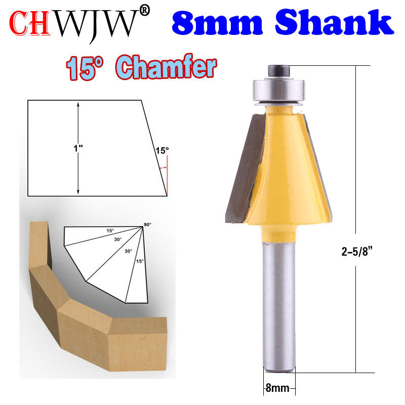 1pc 8mm Shank 15 Degree Chamfer & Bevel Edging Router Bit  Woodworking Cutter Woodworking Bits