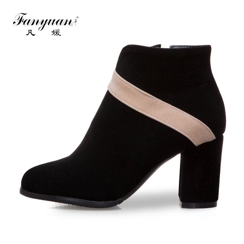 Fanyuan Fashion Mixed Colors Flock Ankle Boots Comfort Zipper High Heel Boots Autumn Work Boots Women Shoes