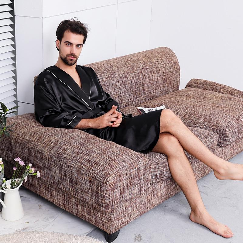Summer Men's Faux Silk Sleepwear Robe Casual Loose Comfortable Print Kimono Robes Home Clothing Satin Nightly Bathrobes