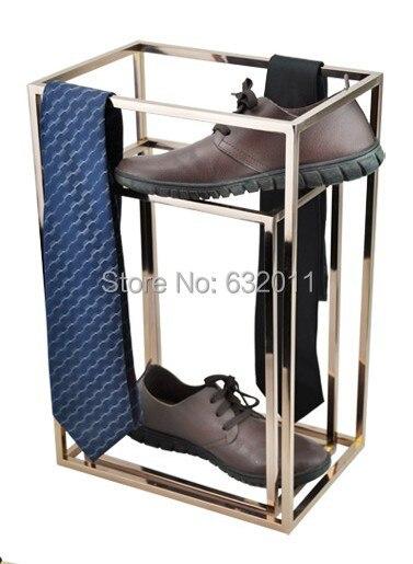 Rose gold shoes necktie scarves holder showing stand Metal merchandise shoes tie holder display rack metal ring holder for smartphones rose gold