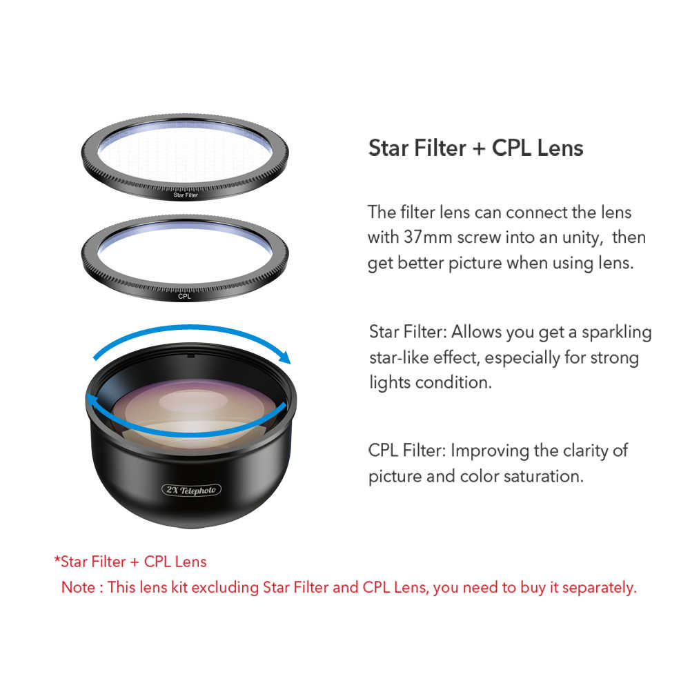 APEXEL HD 2X telescope lens 4K telephoto zoom phone camera lens CPL star filter for huawei Samsung all smartphone drop-shipping