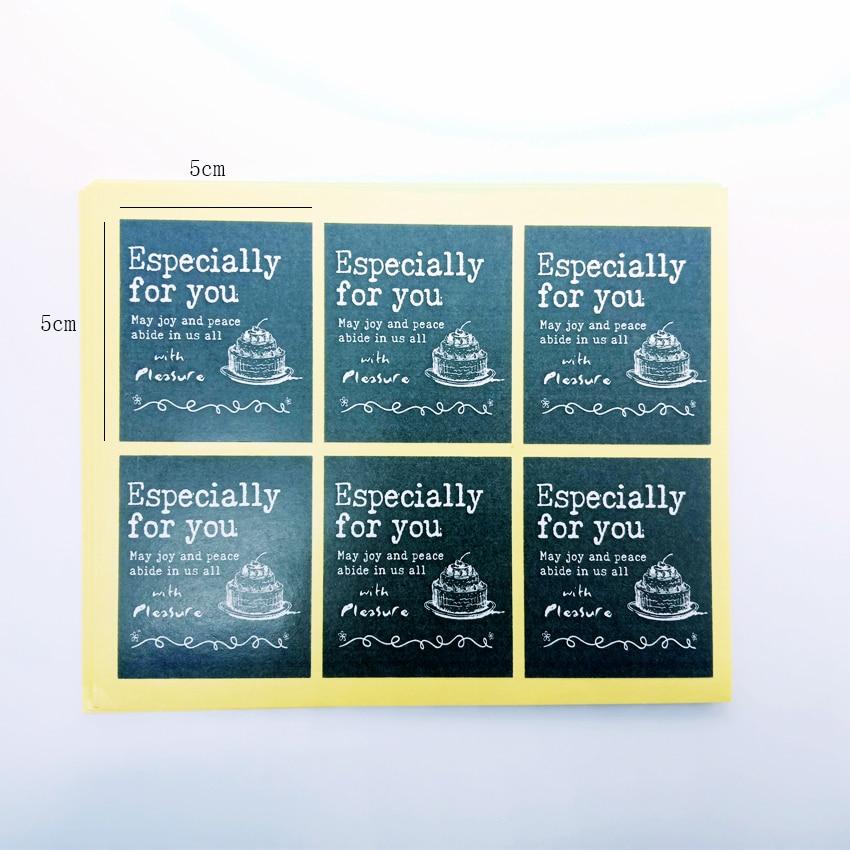 Купить с кэшбэком 60pcs/lot Stickers 'Espercially For You' Hand-painted Cake Black Sealing Sticker Adhesive DIY Decorative Label For Birthday Gift