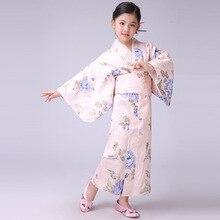 New Stylish Japanese Baby Girl Kimono Dress Cute Kid Yukata With Obi School Girl Dance Costumes Child Cosplay Dress