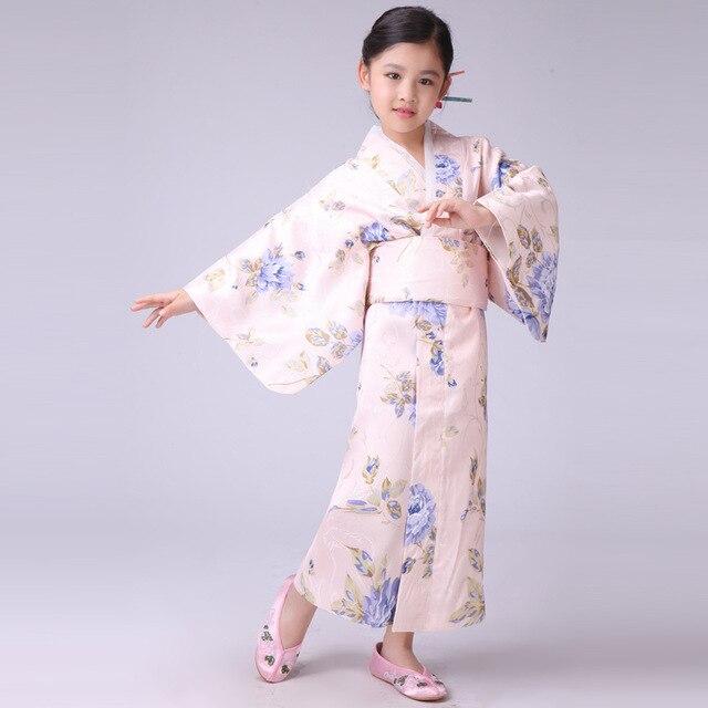 Yeni Şık Japon Bebek Kız Kimono Elbise Sevimli Çocuk Yukata Ile Obi Okul Kız Dans Kostümleri Çocuk Cosplay Elbise
