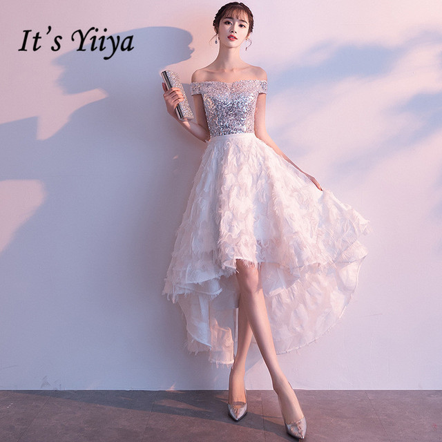 It's YiiYa Prom Dress Fashion Sequins Fabric Shining Boat Neck Party Dresses Elegant Tassel A-line Short Formal Gowns E025