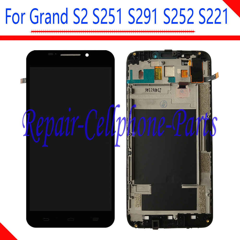 5.5 inch New Black Full LCD DIsplay + Touch Screen Digitizer Assembly With Frame For ZTE Grand S2 S 2 II S251 S291 S252 S221